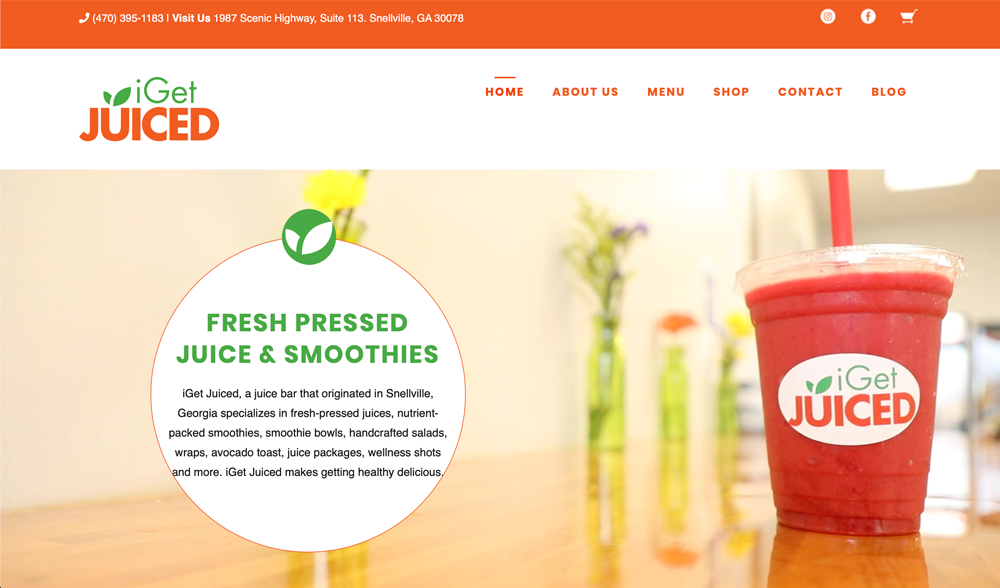 Screen shot of a website for I Get Juiced designed by Atlanta Web designer SkyCastle Productions
